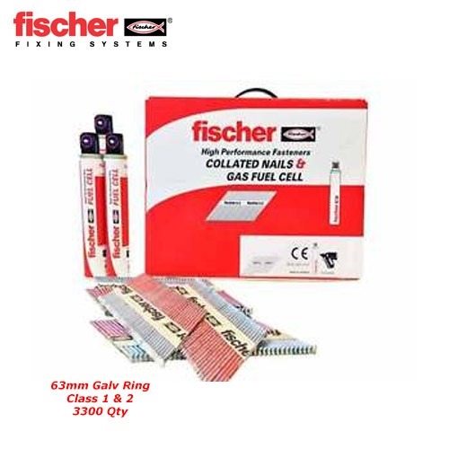 Fischer 534704 3300pk 2.8 x 63mm Ring Nails Galv Class 1 & 2