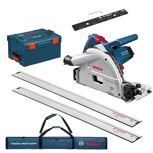 BOSCH GKT55GCE1 110V PLUNGE SAW & FSNKIT - 2 X 1.6M TRACKS, 1 JOINING BAR L-BOXX CARRY