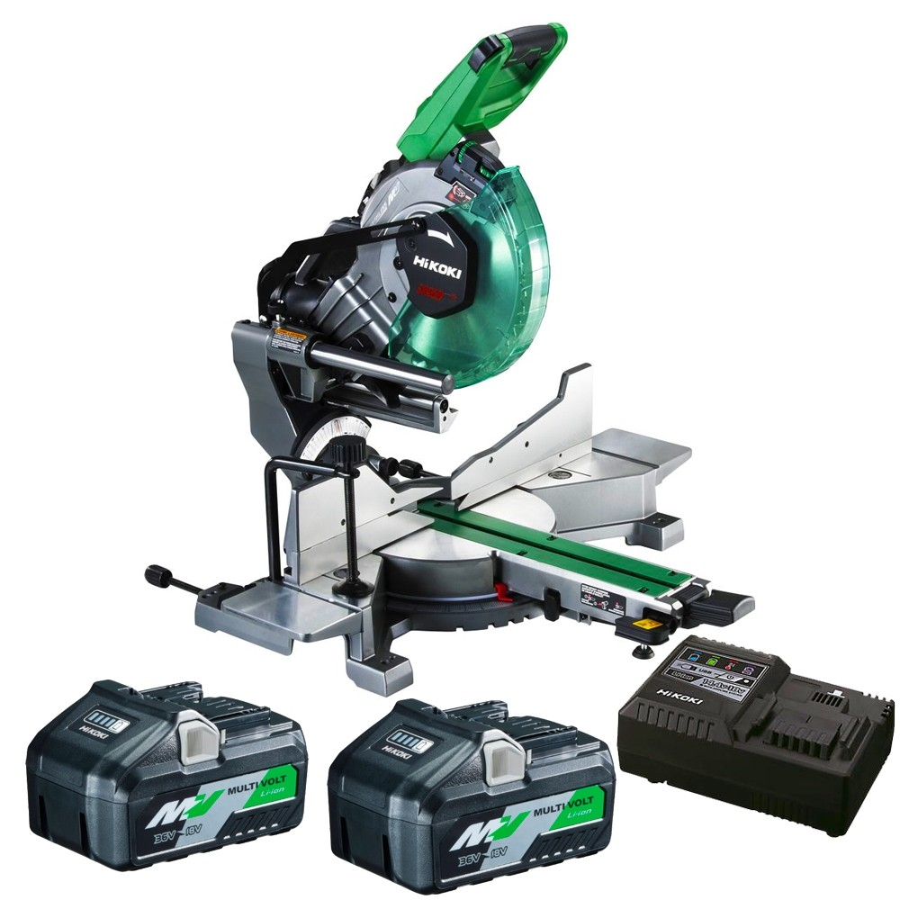 HiKOKI C3610DRAJAZ 18/36V MultiVolt Dual Bevel Mitre Saw 254mm 2 x 8.0/4.0ah kit