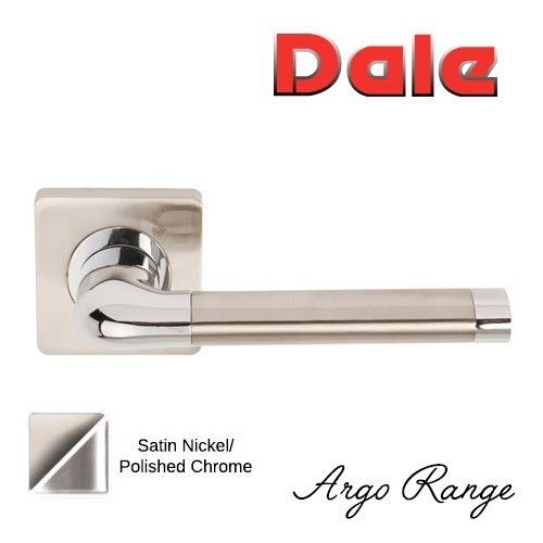 Argo Range Satin Nickel/Polished Chrome Lever on Square Rose