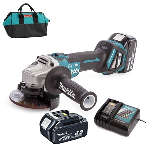 Makita DGA463RT 18V 2x5.0Ah LXT Brushless 115mm Angle Grinder Set