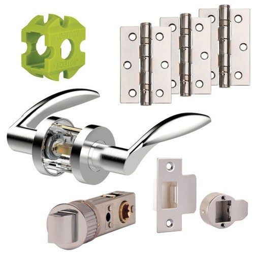 Jigtech Cresta Door Handles Pack Hinge and Latch Pack Polished Chrome JTB72000