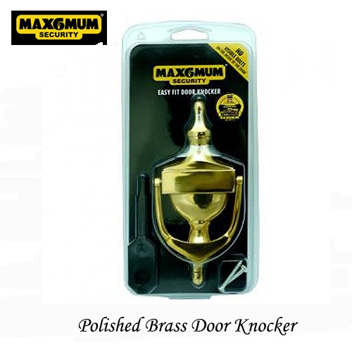 Polished Brass Easy to Fit Door Knocker with Fixings