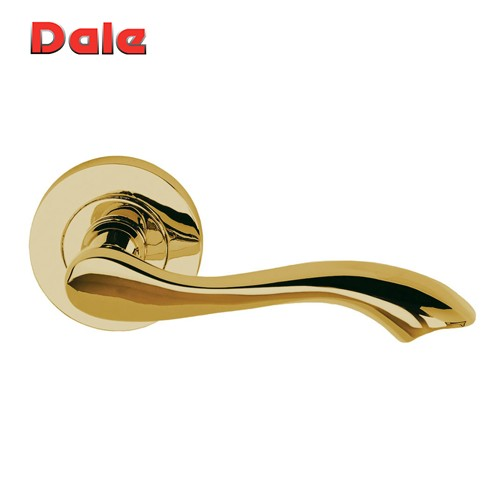 Polished Electro Brass Door lever On Round Rose - Venus DH0003678