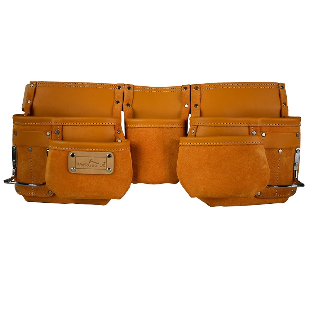 WorkGearUk Tool Belt 11 Pocket Yellow Split Leather Tool pouch Set WG-PX09
