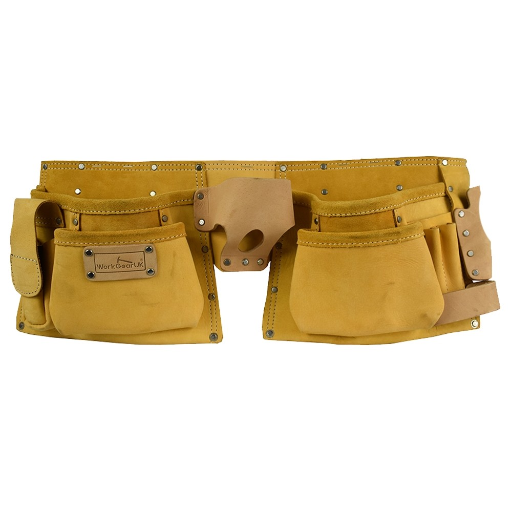 WorkGearUk Tool Belt 11 Pocket Heavy Duty Top Grain Leather Tool pouch in Nu buck Finish  Set WG-PX10