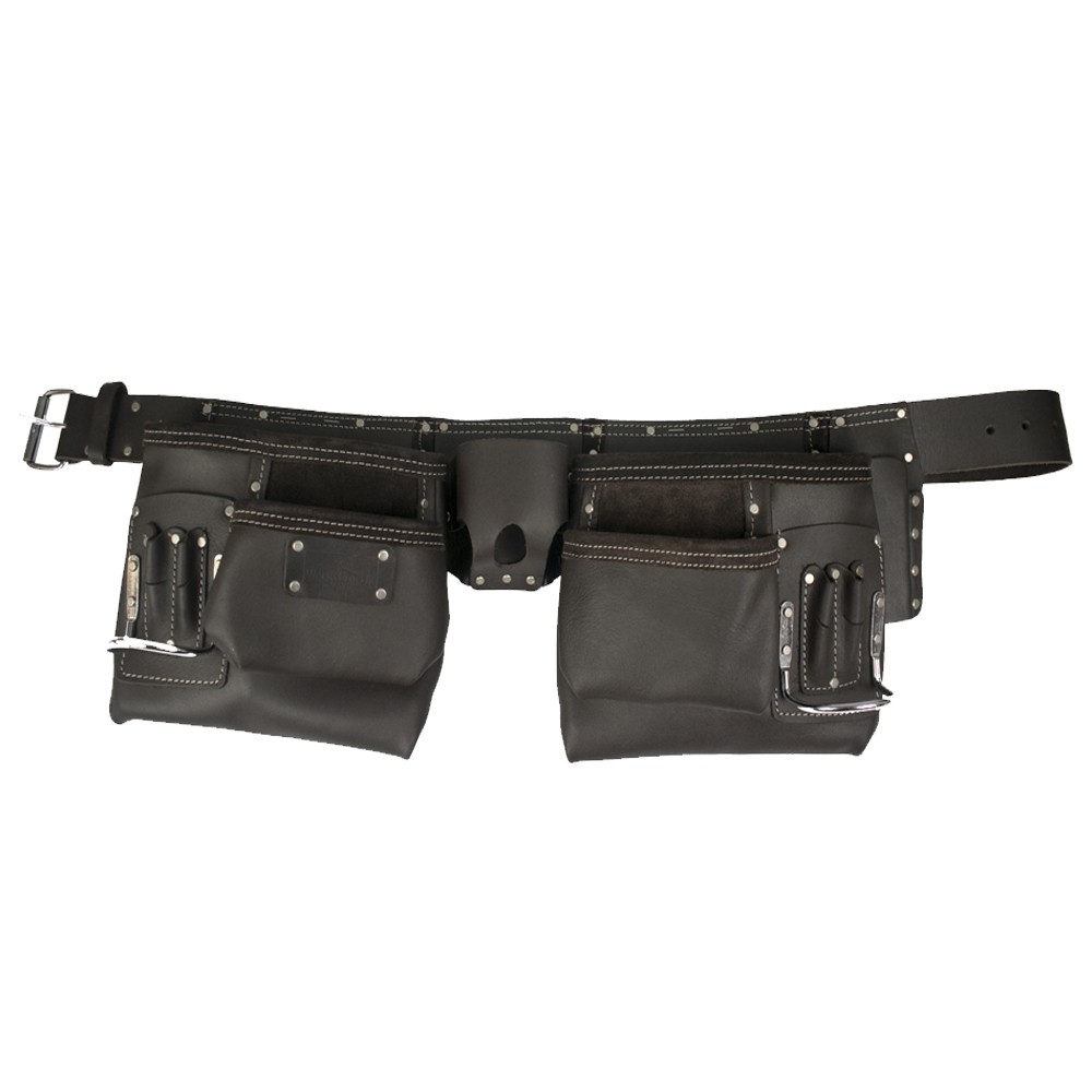 WorkGearUk 10 Pocket Tool Belt Heavy Duty Split Leather oily Finish Tool pouch Set WG - PX11