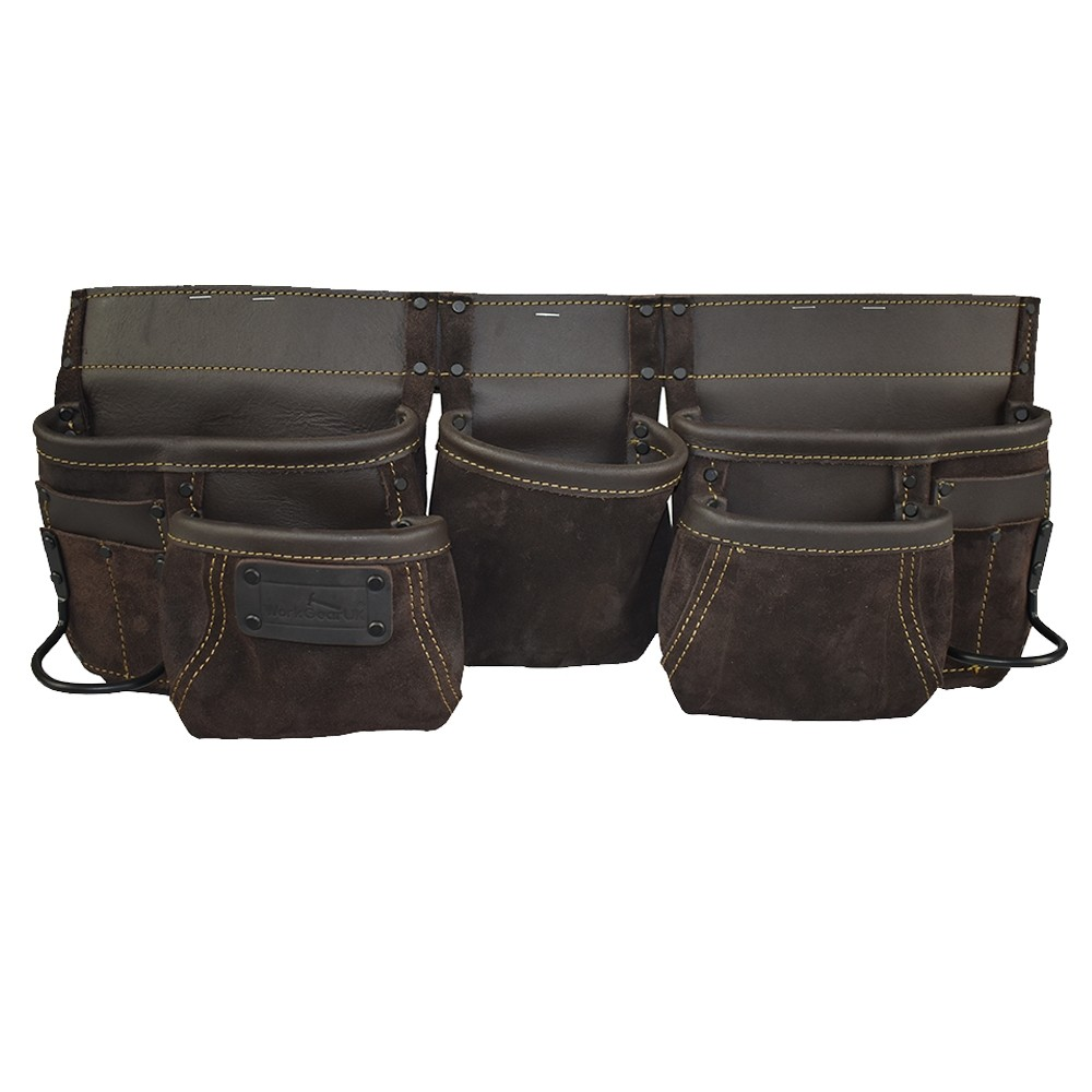 WorkGearUk Tool Belt 11 Pocket Heavy Duty Split Leather oily Finish Tool pouch Set WG-PX12