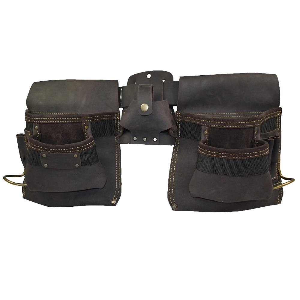 Work Gear Uk 11 Pocket Tool Belt With a Heavy Duty Oil -Tanned Top Grain Leather Finish Pouch WG-PX14