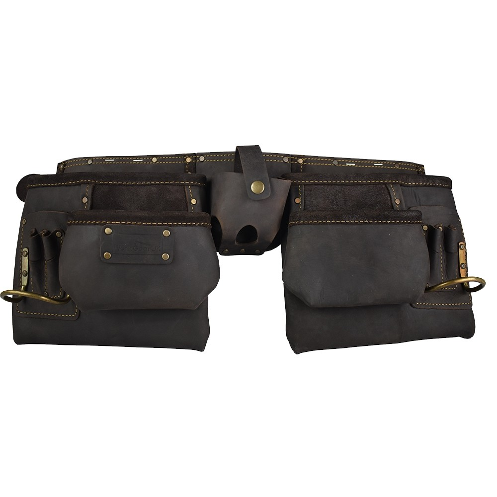 Work Gear Uk 10 Pocket Tool Belt With a Heavy Duty Oil -Tanned Top Grain Leather Tool pouch Set WG-PX15
