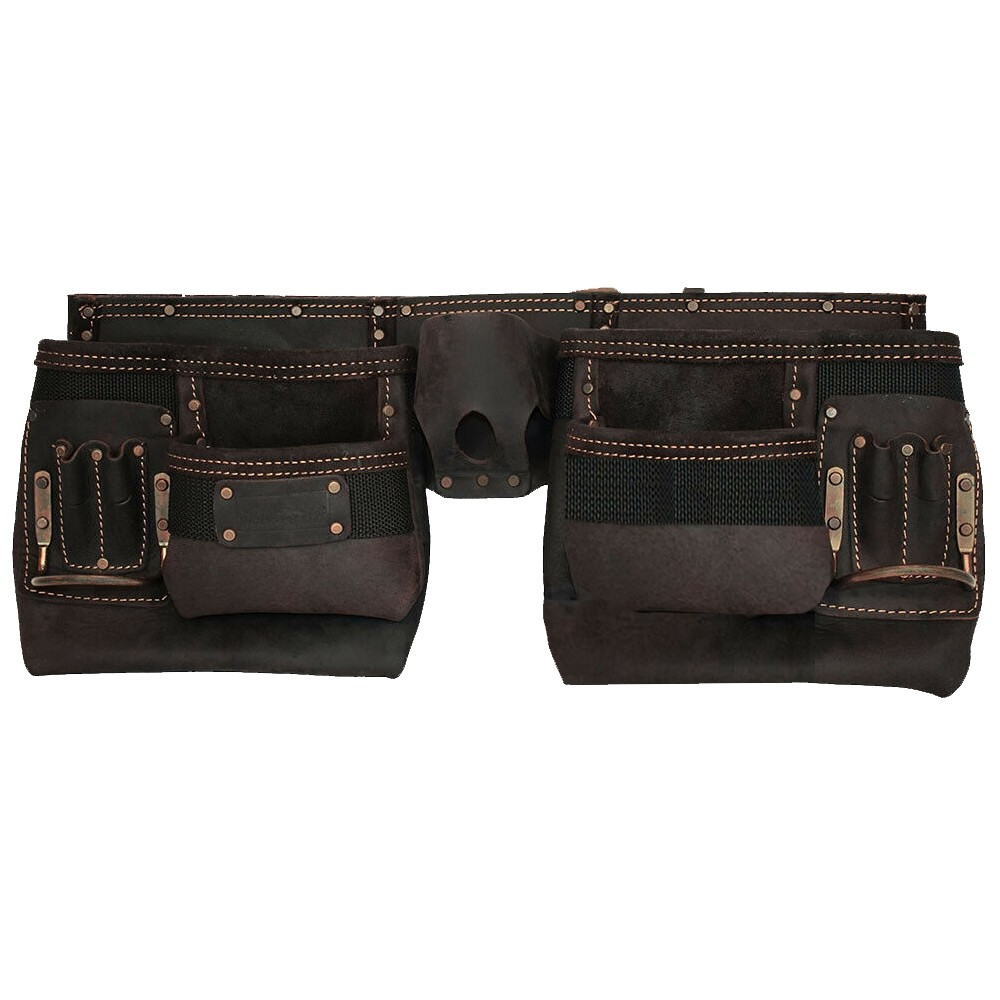 Work Gear Uk 10 Pocket Tool Belt With a Heavy Duty Oil -Tanned Top Grain Leather Tool pouch Set WG-PX16