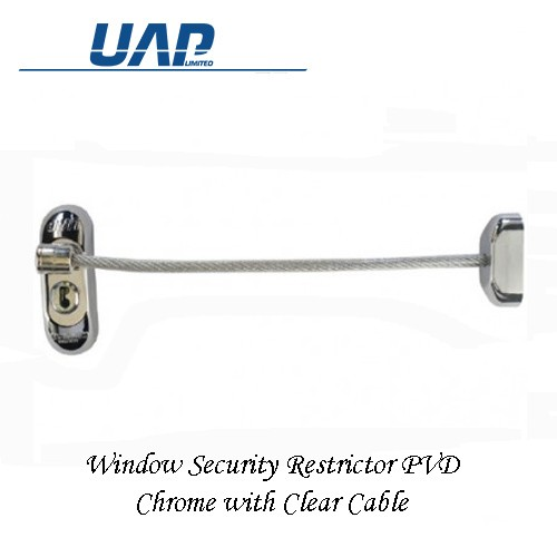 Window Restrictor - Chrome Plate Clear Cable