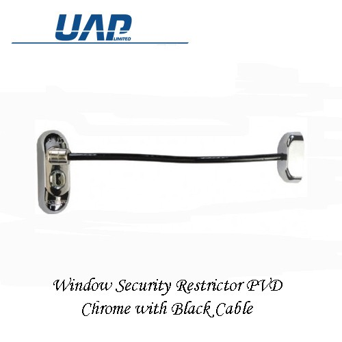 Window Restrictor - Chrome Plate Black Cable