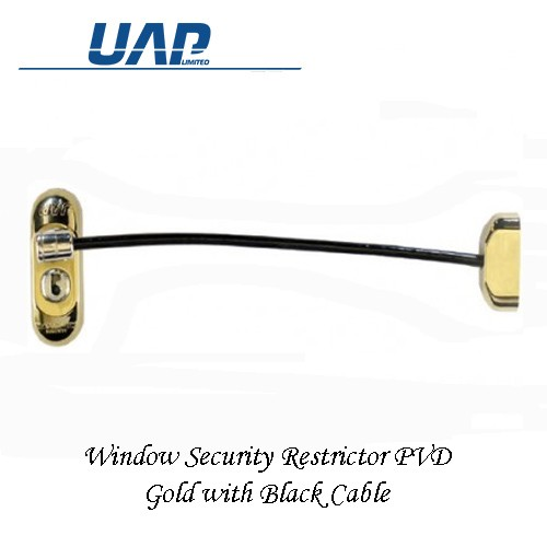 Window Restrictor - Gold with Black Cable