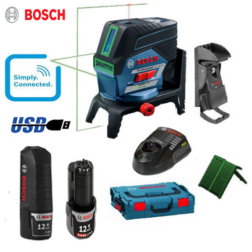 bosch gcl2 50cg green beam combi laser rm2 wall mount 2 x 2 0ah batts usb ebay. Black Bedroom Furniture Sets. Home Design Ideas